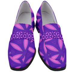 Pattern Texture Backgrounds Purple Women s Chunky Heel Loafers