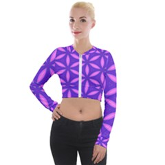 Pattern Texture Backgrounds Purple Long Sleeve Cropped Velvet Jacket