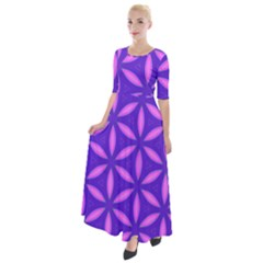 Pattern Texture Backgrounds Purple Half Sleeves Maxi Dress