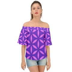 Pattern Texture Backgrounds Purple Off Shoulder Short Sleeve Top