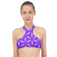 Pattern Texture Backgrounds Purple High Neck Bikini Top