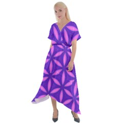 Pattern Texture Backgrounds Purple Cross Front Sharkbite Hem Maxi Dress by HermanTelo