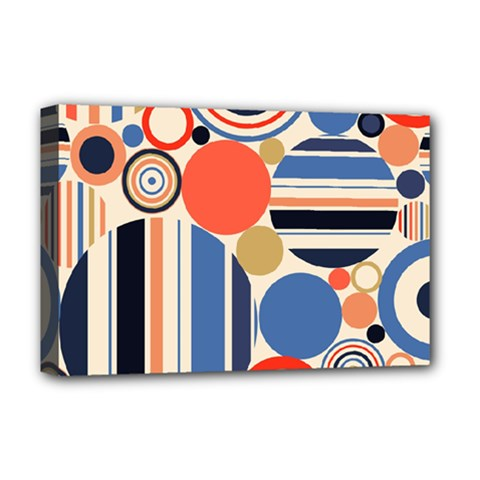Geometric Abstract Pattern Colorful Flat Circles Decoration Deluxe Canvas 18  X 12  (stretched) by Vaneshart
