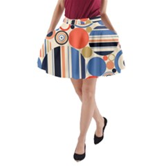 Geometric Abstract Pattern Colorful Flat Circles Decoration A Line Pocket Skirt by Vaneshart