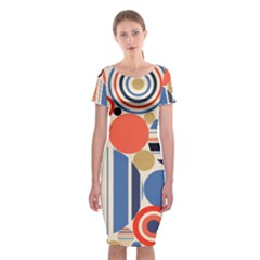 Geometric Abstract Pattern Colorful Flat Circles Decoration Classic Short Sleeve Midi Dress