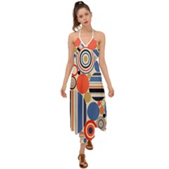 Geometric Abstract Pattern Colorful Flat Circles Decoration Halter Tie Back Dress  by Vaneshart