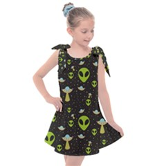 Alien Ufo Pattern Kids  Tie Up Tunic Dress