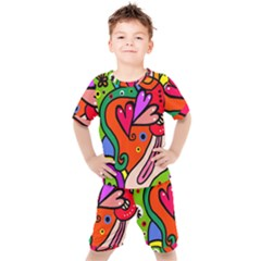 Seamless Doodle Kids  Tee And Shorts Set