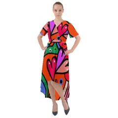 Seamless Doodle Front Wrap High Low Dress by Vaneshart