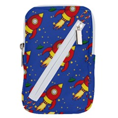 Space Rocket Pattern Belt Pouch Bag (large) by Vaneshart