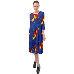 Space Rocket Pattern Ruffle End Midi Chiffon Dress