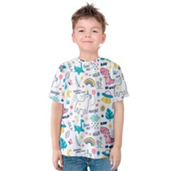Colorful Doodle Animals Words Pattern Kids  Cotton Tee