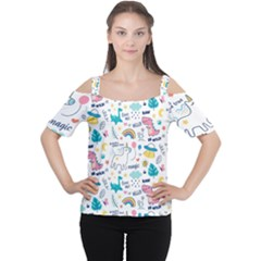 Colorful Doodle Animals Words Pattern Cutout Shoulder Tee