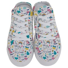 Colorful Doodle Animals Words Pattern Half Slippers
