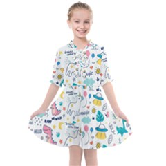 Colorful Doodle Animals Words Pattern Kids  All Frills Chiffon Dress