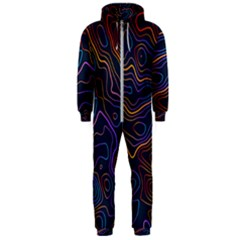 Topographic Colorful Contour Illustration Background Hooded Jumpsuit (men)  by Vaneshart