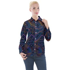 Topographic Colorful Contour Illustration Background Women s Long Sleeve Pocket Shirt