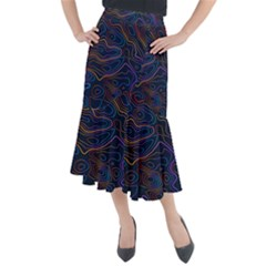 Topographic Colorful Contour Illustration Background Midi Mermaid Skirt