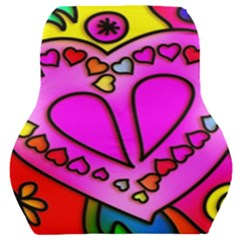 Stained Glass Love Heart Car Seat Back Cushion  by Vaneshart