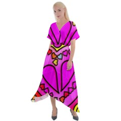 Stained Glass Love Heart Cross Front Sharkbite Hem Maxi Dress
