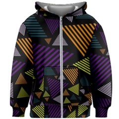 Abstract Pattern Design Various Striped Triangles Decoration Kids  Zipper Hoodie Without Drawstring by Vaneshart