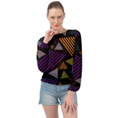 Abstract Pattern Design Various Striped Triangles Decoration Banded Bottom Chiffon Top