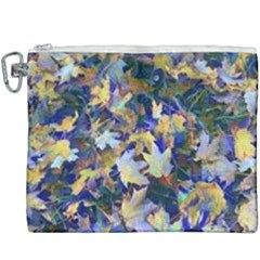 October Leaves In Blue Canvas Cosmetic Bag (xxxl) by bloomingvinedesign