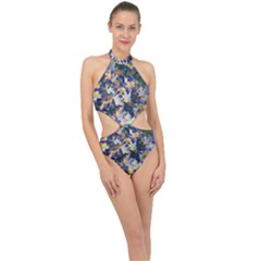 October Leaves In Blue Halter Side Cut Swimsuit by bloomingvinedesign
