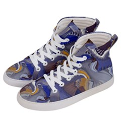 Cobalt Blue Silver Orange Wavy Lines Abstract Women s Hi-top Skate Sneakers by CrypticFragmentsDesign