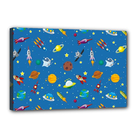 Space Rocket Solar System Pattern Canvas 18  X 12  (stretched)