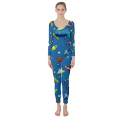 Space Rocket Solar System Pattern Long Sleeve Catsuit