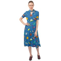 Space Rocket Solar System Pattern Keyhole Neckline Chiffon Dress