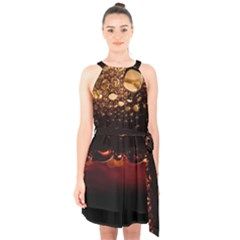 Water Drops Bubbles Macro Close Up Brown Halter Collar Waist Tie Chiffon Dress