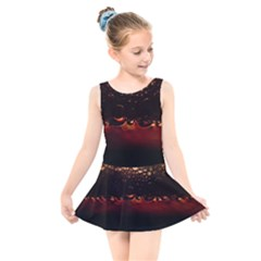 Water Drops Bubbles Macro Close Up Brown Kids  Skater Dress Swimsuit