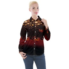 Water Drops Bubbles Macro Close Up Brown Women s Long Sleeve Pocket Shirt