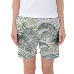 Vector Palm Leaves Pattern  Illustration Women s Basketball Shorts