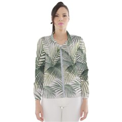 Vector Palm Leaves Pattern  Illustration Women s Windbreaker by Vaneshart