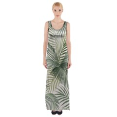Vector Palm Leaves Pattern  Illustration Thigh Split Maxi Dress by Vaneshart