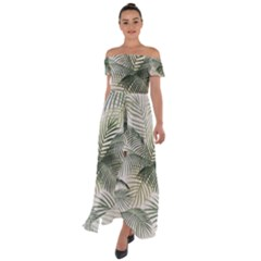Vector Palm Leaves Pattern  Illustration Off Shoulder Open Front Chiffon Dress