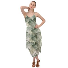 Vector Palm Leaves Pattern  Illustration Layered Bottom Dress