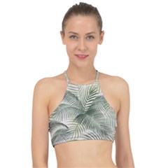 Vector Palm Leaves Pattern  Illustration Racer Front Bikini Top