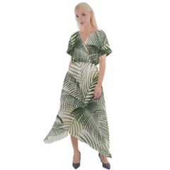 Vector Palm Leaves Pattern  Illustration Cross Front Sharkbite Hem Maxi Dress