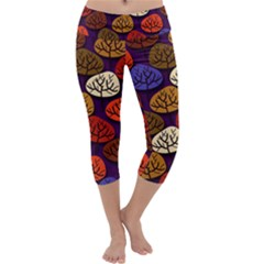 Tree Pattern Background Capri Yoga Leggings