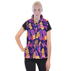 Tropical Pattern Women s Button Up Vest by Vaneshart