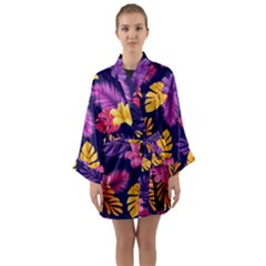 Tropical Pattern Long Sleeve Satin Kimono by Vaneshart