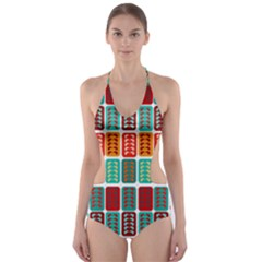 Bricks Abstract Seamless Pattern Cut Out One Piece Swimsuit