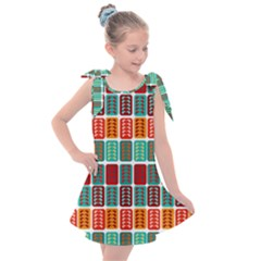Bricks Abstract Seamless Pattern Kids  Tie Up Tunic Dress