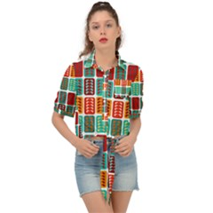 Bricks Abstract Seamless Pattern Tie Front Shirt