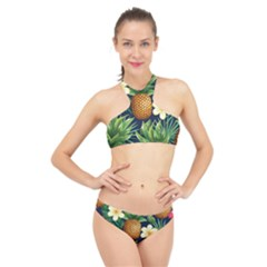 Tropical Pattern Pineapple Flowers Floral Fon Tropik Ananas High Neck Bikini Set