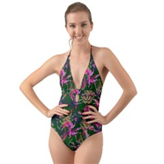 Vibrant Tropical Halter Cut Out One Piece Swimsuit